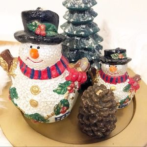 5 Piece Winter Christmas Holiday Candle Garden NWT
